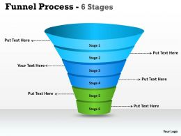 6 Steps Of Business Process funnel Diagram