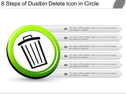 6 Steps Of Dustbin Delete Icon In Circle