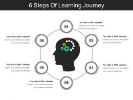 6 Steps Of Learning Journey Powerpoint Slide Designs
