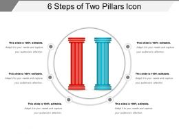 6 Steps Of Two Pillars Icon Ppt Slide Design