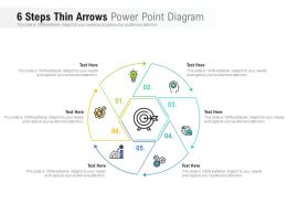 6 Steps Thin Arrows Power Point Diagram