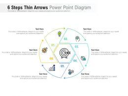 6 Steps Thin Arrows Power Point Diagram