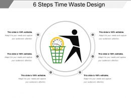 6 Steps Time Waste Design Presentation Background Images