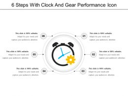 6 Steps With Clock And Gear Performance Icon