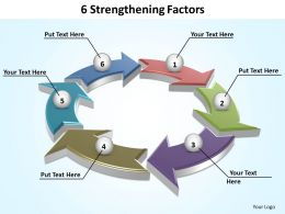 6 strengthening factors shown by interconnected arrows powerpoint diagram templates graphics 712