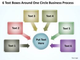 6 Text Boxes Around One Circle Business Process Powerpoint Templates ppt presentation slides 812