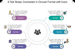 6 Text Boxes Connected In Circular Format With Icons