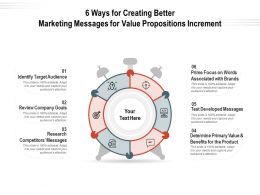 6 Ways For Creating Better Marketing Messages For Value Propositions Increment