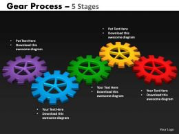 77 Gears Process 5 Stages Style 2 Powerpoint Slides And Ppt Templates