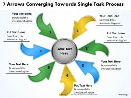 7 arrows converging towards single task process Charts and Networks PowerPoint templates