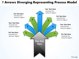 7 arrows diverging representing process model Charts and Networks PowerPoint templates