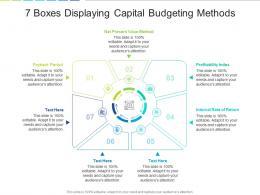 7 Boxes Displaying Capital Budgeting Methods