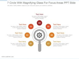 7 Circle With Magnifying Glass For Focus Areas Ppt Slide