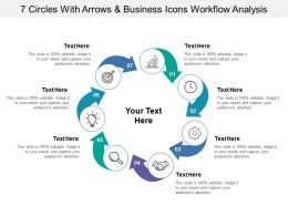 7 Circles With Arrows And Business Icons Workflow Analysis