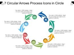 7 Circular Arrows Process Icons In Circle