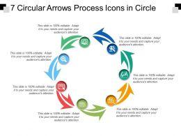 7 Circular Arrows Process Icons In Circle