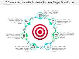 7 Circular Arrows With Route To Success Target Board Icon