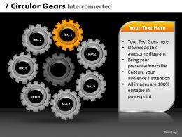 7 Circular Gears Interconnected Powerpoint Slides And Ppt Templates DB