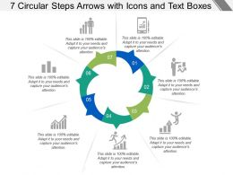 7 Circular Steps Arrows With Icons And Text Boxes