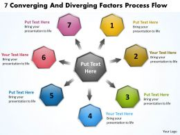 7 converging and diverging factors process flow Charts Networks PowerPoint templates