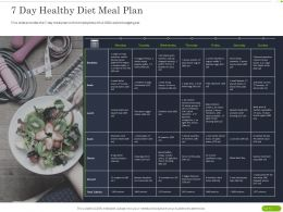 7 Day Healthy Diet Meal Plan Ppt Powerpoint Presentation Summary Brochure