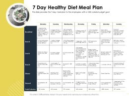7 Day Healthy Diet Meal Plan Vinaigrette Ppt Powerpoint Presentation Icon Brochure