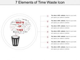 7 Elements Of Time Waste Icon Sample PPT Files