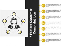 7 Factors Customer Complaint Icon Powerpoint Slide