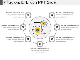 7 Factors Etl Icon Ppt Slide