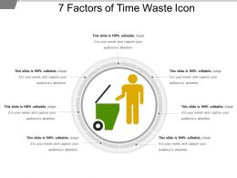 7 Factors Of Time Waste Icon PPT Slide Design