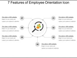 7 Features Of Employee Orientation Icon Ppt Examples Slides