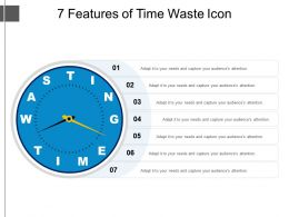 7 Features Of Time Waste Icon Ppt Slide Templates