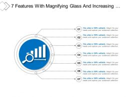 7 Features With Magnifying Glass And Increasing Performance Icon