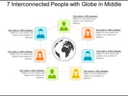 7 Interconnected People With Globe In Middle