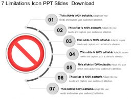 7 Limitations Icon Ppt Slides Download