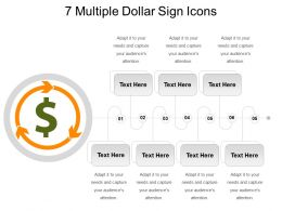 7 Multiple Dollar Sign Icons Powerpoint Topics
