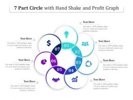 7 Part Circle With Hand Shake And Profit Graph