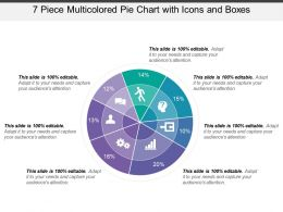 7 Piece Multicolored Pie Chart With Icons And Boxes