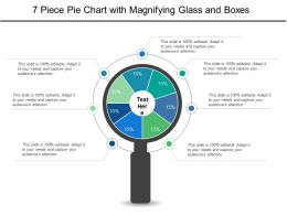 7 Piece Pie Chart With Magnifying Glass And Boxes