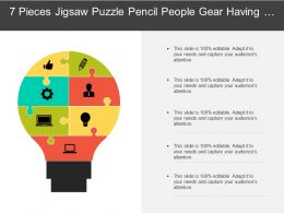 7 Pieces Jigsaw Puzzle Pencil People Gear Having Bulb Shaped