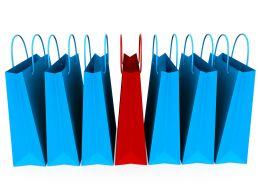 7 Shopping Bags With One Red And 6 Blue Stock Photo