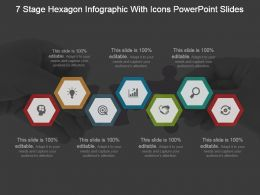 7 Stage Hexagon Infographic With Icons Powerpoint Slides