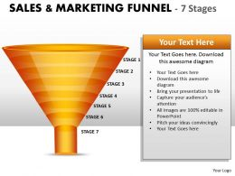 7 staged Sales Marketing Funnel Diagram