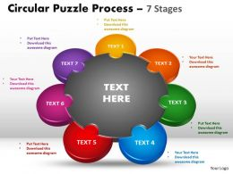 7 Stages Circular diagram Puzzle Process 6