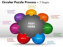 7 Stages Circular Puzzle Process Powerpoint Slides