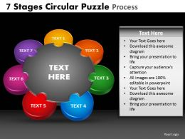 7 Stages Circular Puzzle Process Powerpoint Slides And Ppt Templates DB