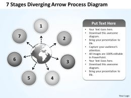 7 stages diverging arrow process diagram Circular Flow Chart PowerPoint Slides