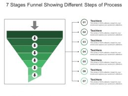 7 Stages Funnel Showing Different Steps Of Process