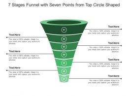 7 Stages Funnel With Seven Points From Top Circle Shaped