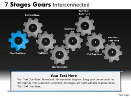 7 Stages Gears Interconnected Powerpoint Slides And Ppt Templates DB
